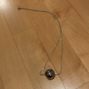 COS Long Silver Necklace with Silver Ball Pendant